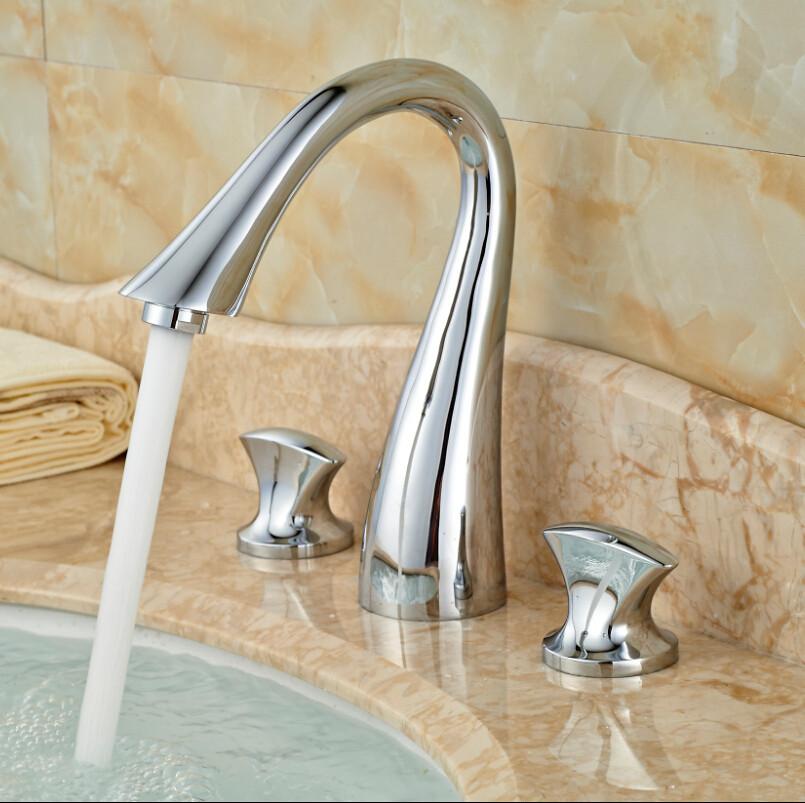 Купить Новый Водопад Ванная Комната Широкое Кран Раковины 3 Отверстия Двойной Ручкой Бассейна Смесители Хромированная Отделка