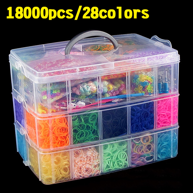 18000pcs silicone rubber bands loom bands bracelets knitting set kit refill to weaving bracelets bands silicone rubber woman(China (Mainland))