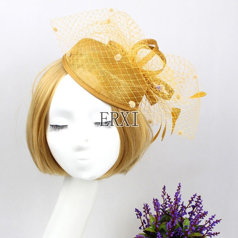 New luxury gold fascinators for weddings, wedding hats and fascinators, hair fascinators for weddings(China (Mainland))