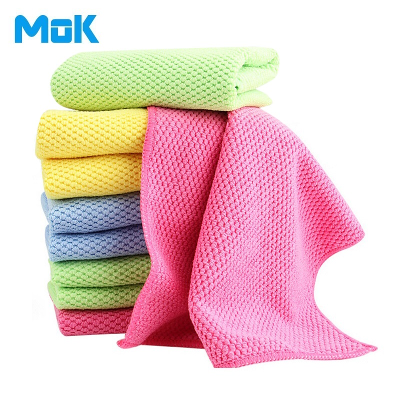 8 Pieces Corn Kernels Double-sided Solid Microfiber Cleaning Cloth Absorbent Kitchen Washing Towels Glasses Cleaner 30x40cm(China (Mainland))