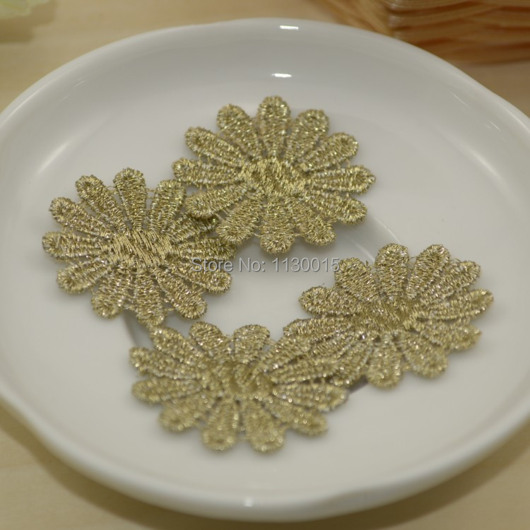Free Shipping Venise Lady Dress Sewing Gold Flower Floral Lace Trims Applique Patches 50pcs/lot(China (Mainland))