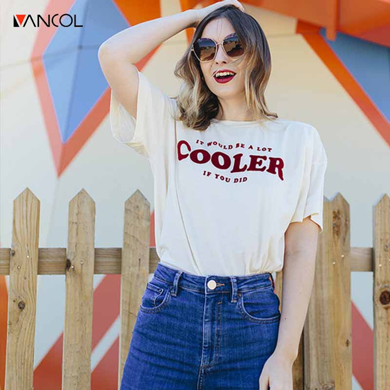 Vancol 2017 New arrival summer women thsirt Character letter cooler printing t-shirt female short-sleeve shirt Hong Kong style(China (Mainland))
