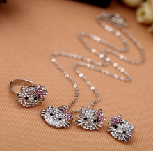 New Fashion Crystal Cat Stud Earrings Rhinestone Hello Kitty Earrings Bowknot KT Jewelry For Girls Ring,Earring and Necklace Set(China (Mainland))