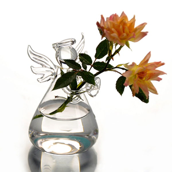 Hot Cute Glass Angel Shape Flower Plant Stand Hanging Vase Hydroponic Container Office Wedding Decor(China (Mainland))