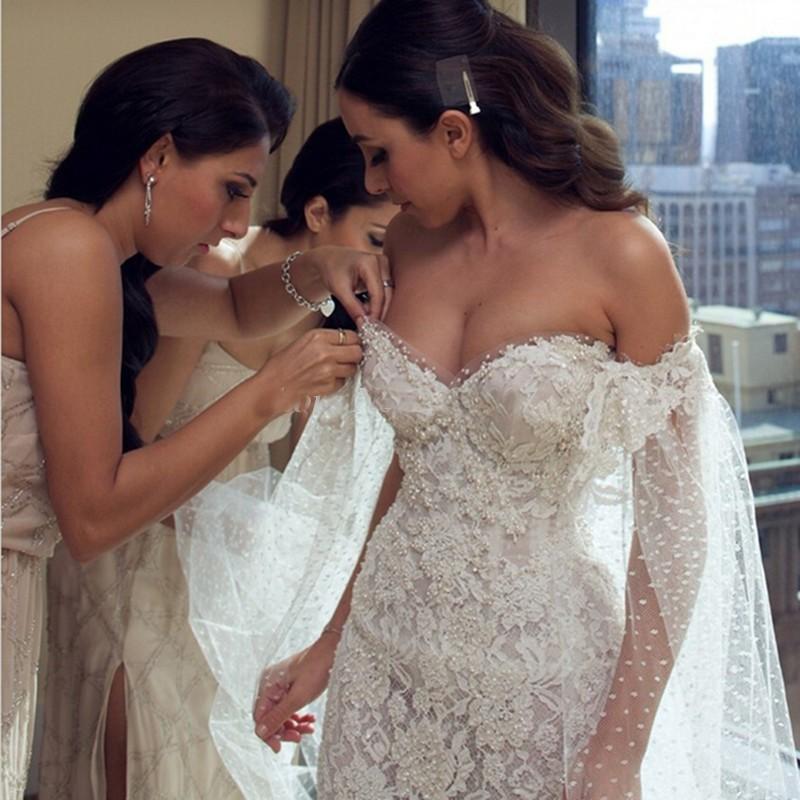 2016 мода романтический тонкий свадебные платья аппликации кружева лодка шеи жемчуг свадебный жениться платье vestido де noiva