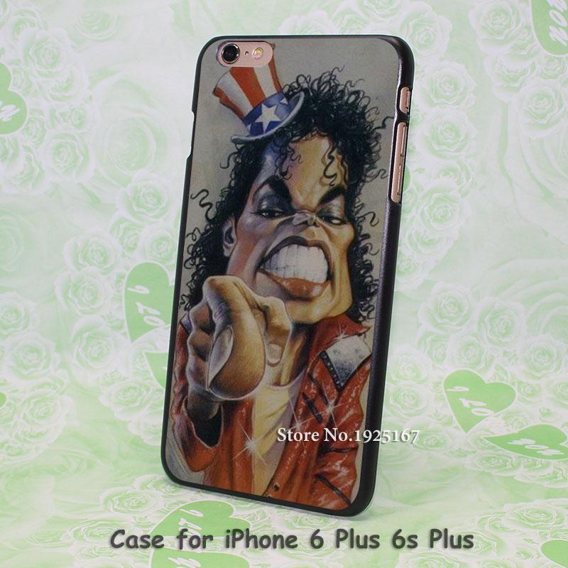 Caricaturas de michael jackson Pattern hard black Case Cover for iPhone 4 4s 5 5s 5c 6 6s 6 Plus 6s Plus(China (Mainland))
