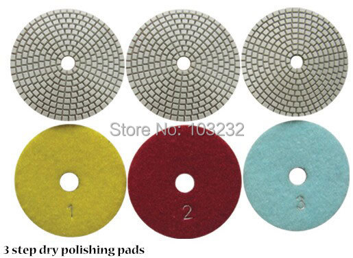 3 Step Dry Polishing Pads 4 inch White Resin Face Stone Fast Gloss Abrasive Diamond Tools Pcs/lot - East Sea Bay store
