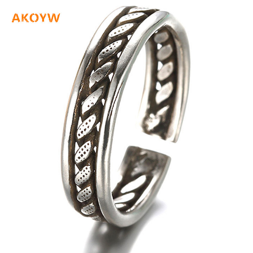 Geometry Ring Women's fashion jewelry simple retro male opening adjustable ring Silver plated 6MM + 18MM(China (Mainland))
