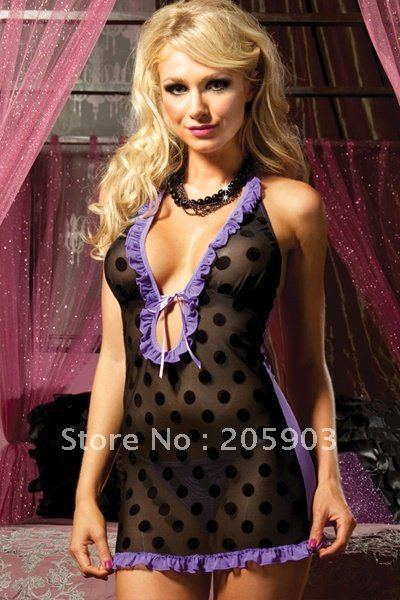 Free Shipping(12pc/lot) 2012 New Babydoll Wholesale cheap lingerie Women's Nightwear Polka Dot Babydoll Lingerie Set 2391