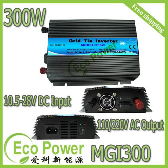 CE approved mppt 300w 18V grid tie solar inverter & converter micro inverter 300WATT 10.5-28V DC input,120V /230VAC output(China (Mainland))