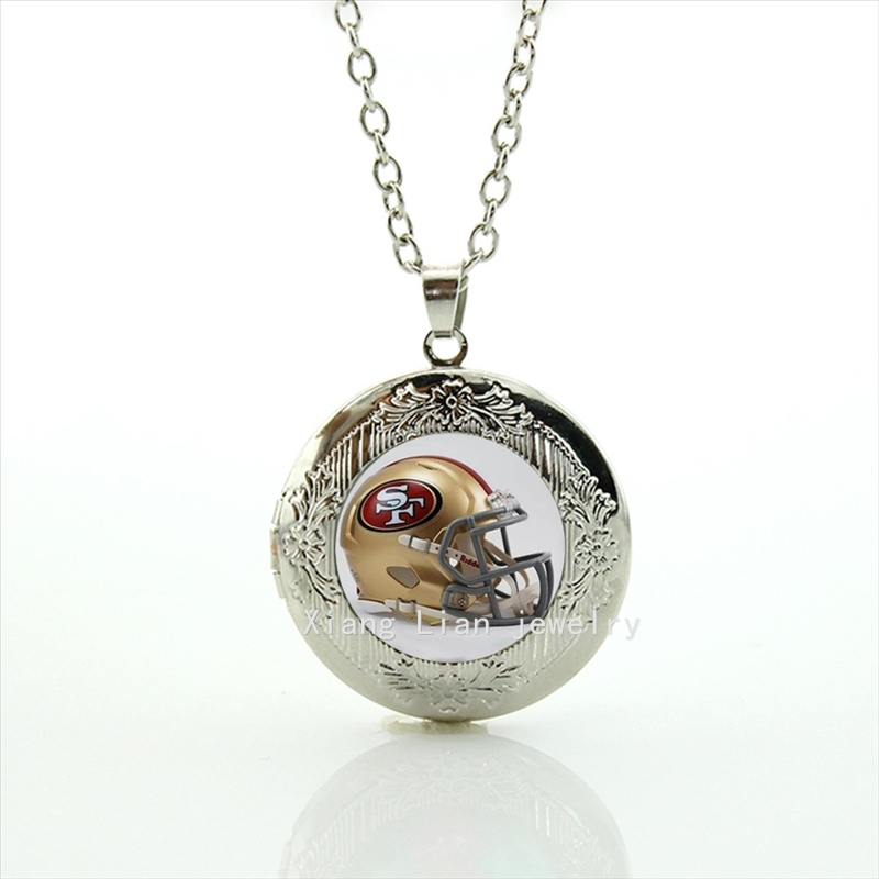 New fashion American football locket necklace San Francisco 49ers Newest 32 NFL rugby helmet jewelry gift for father NF090(China (Mainland))