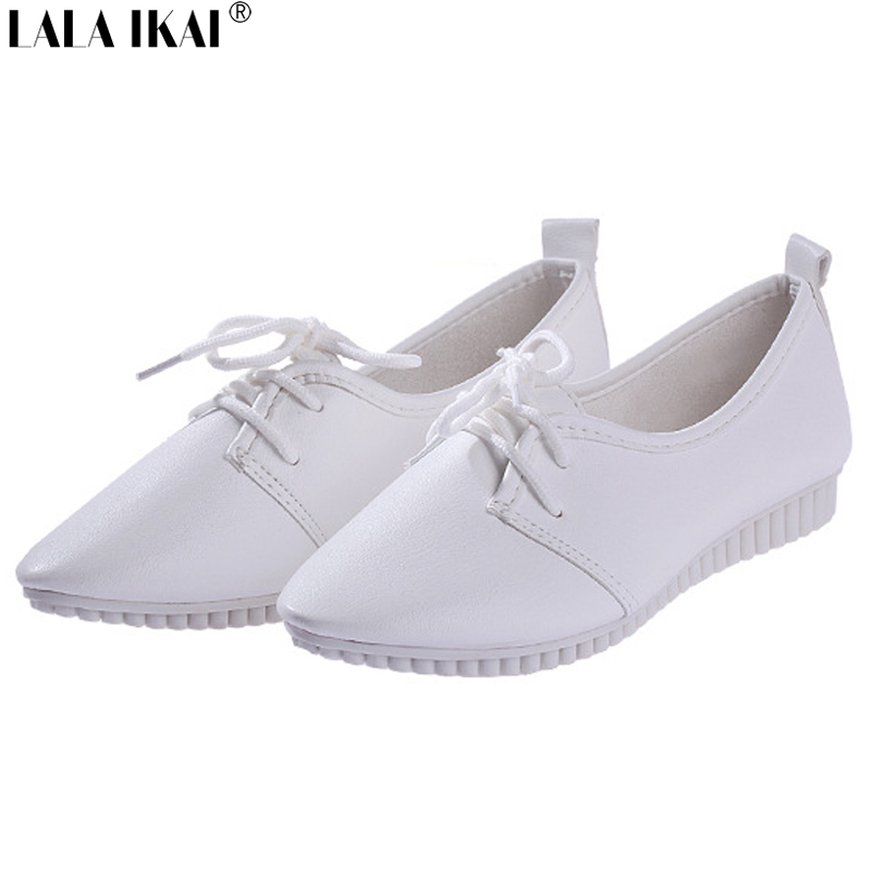 XWM017-5 New Fashion Women Flats Lace-Up Vintage Moccasin Shoes Spring Autumn Female Single White Flat Shoes Free Shipping<br><br>Aliexpress