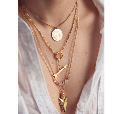 2015 summer style 4 layer arrow design necklace pendant charm gold choker necklace women jewelry N272