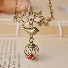 Original handmade retro tree branch bird cage short necklace vintage bronze coral beads pendant necklace for women(China (Mainland))