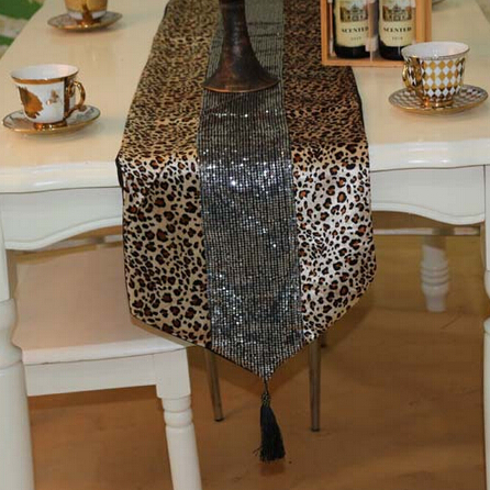 Awesome Table Runner Domineering Wild Chemin De Department Animal Print Leopard  Stitching Sequins Runners   YUYU QIUu0027s