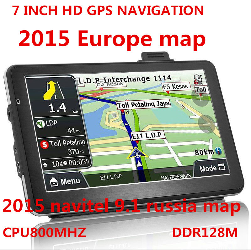 2015 new 7 inch HD Car TRUCK GPS Navigator 800MHZ FM/4GB/DDR 128M New Maps Russia/Belarus/Kazakhstan Europe/USA+Canada TRUCK(China (Mainland))
