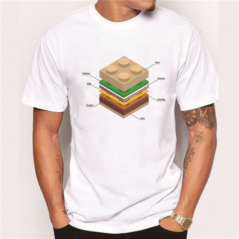 2016 s/s New Hipster men's fashion lego burger printed t-shirt funny short sleeve tee shirts Novelty O-neck popular sport tops(China (Mainland))