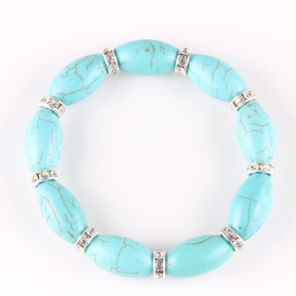 2015 Hot sale Bohemian Silver Women Indian Bracelets Created Diamond Turquoise Beads Elastic Bracelet &Bangles Jewelry Gift(China (Mainland))