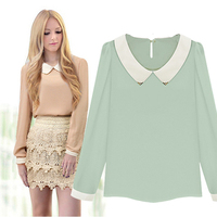 New Arrival 2015 Women Summer Casual Shirt Chiffon Peter Pan Full Sleeve Patchwork Print Collar Blouse