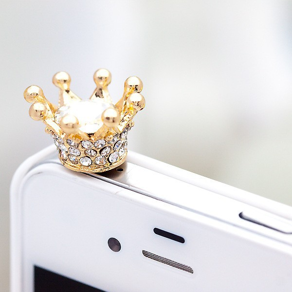 Hot sales Free Shipping Factory Direct Phone Accessories crystal Crown Dust Plug for iphone 5 5s 6 for samsung xiaomi