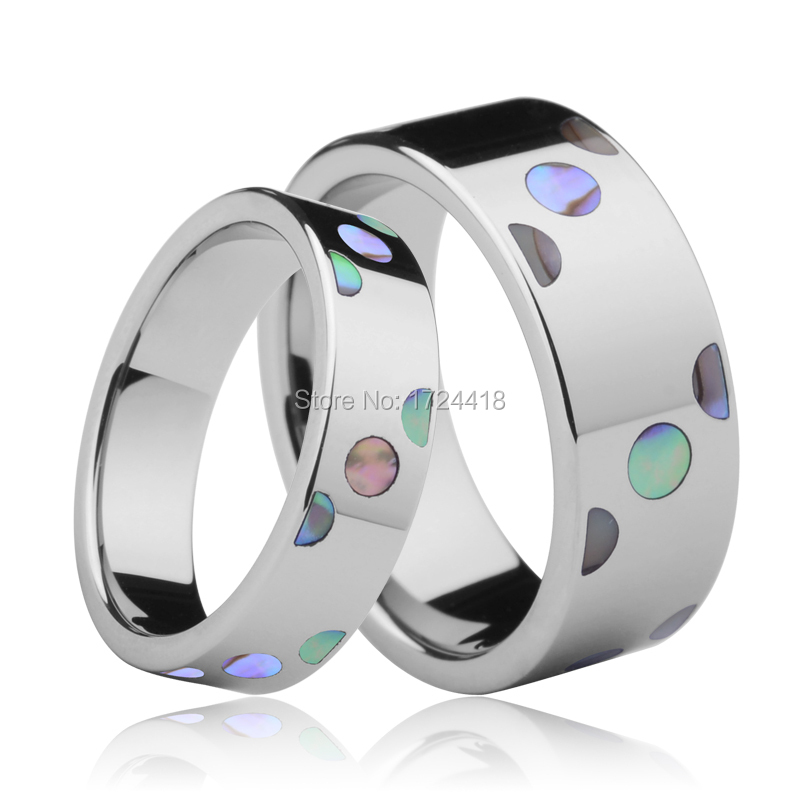 Personalized Ring Male And Female Inlay Deep Sea Shell Fashion Jewelry Ring Tungsten Ring Wedding Ring 6mm and 8mm Free Shipping(China (Mainland))