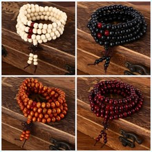 Buy pulseras 108 beads 8mm Natural Sandalwood Buddhist Buddha Wood Prayer Bead Mala Unisex Men bracelets & bangles jewelry bijoux for $1.00 in AliExpress store