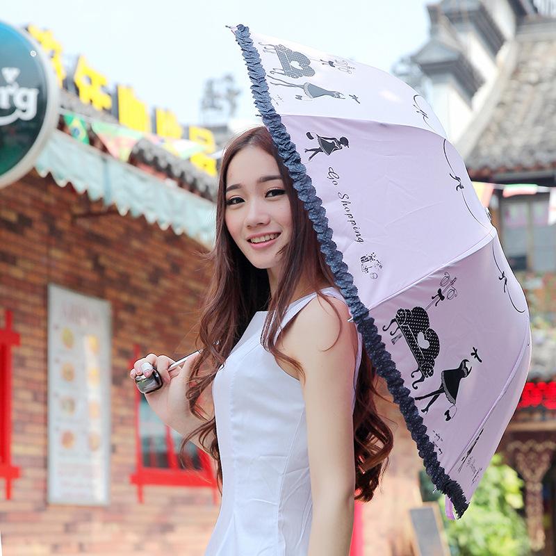 2016 new cartoon arched Lace Umbrella girls go out dual purpose folding umbrella(China (Mainland))