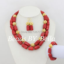 Gorgeous Red Nigrian Wedding African Coral Beads Jewelry Set 18K Dubai Gold Plated Jewelry Set Fashion 2015 Free Shipping ABS032(China (Mainland))