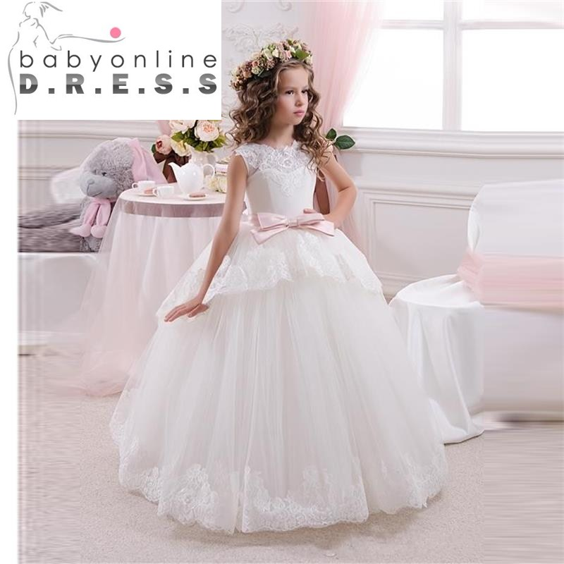 Hot Sale Ball Gown White Ivory Tulle Flower Girl Dresses Girls Pageant Dresses First Communion Dresses Vestidos De Comunion(China (Mainland))