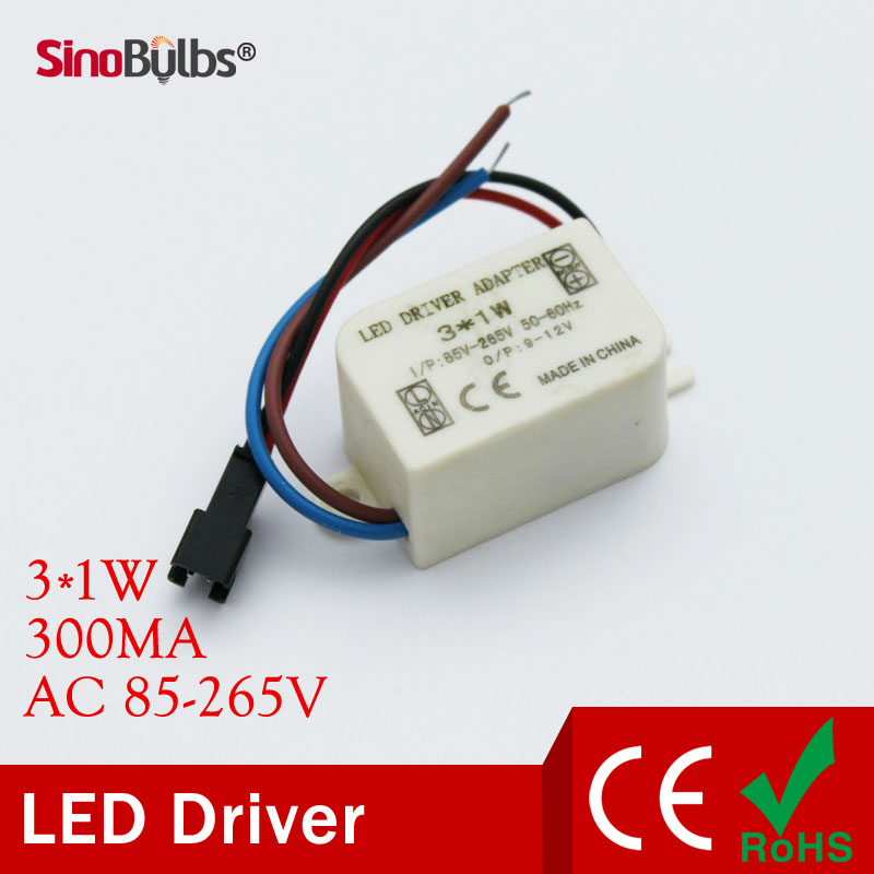 Led Lamp Driver 3x1W ,AC85-265V 50/60Hz ,Output 300mA . Led lamp transformer for 1W 2W 3W , Voltage from AC85 -265V .(China (Mainland))