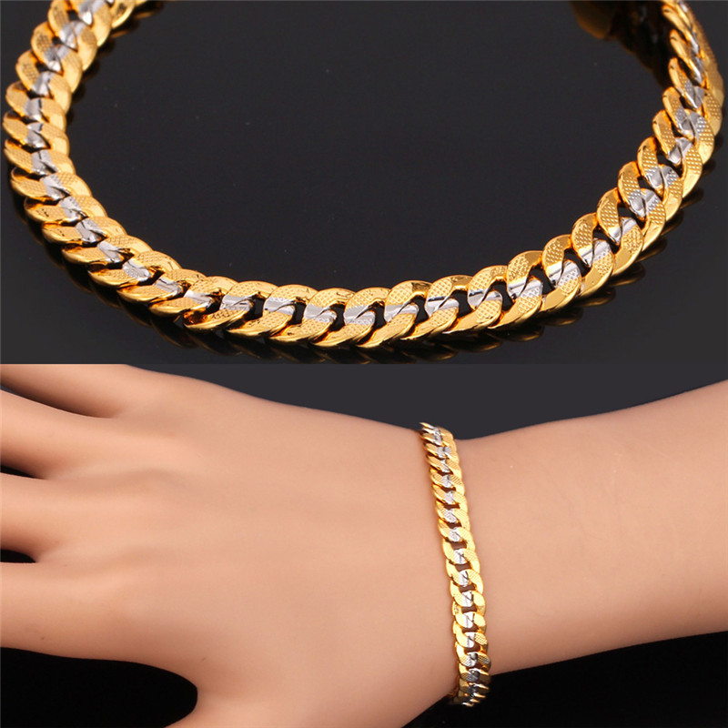 Trendy Two tone gold bracelet '18K' Stamp Real Gold platinum Plated free shipping 21cm 6MM Cuban link chain bracelet men H5503(China (Mainland))