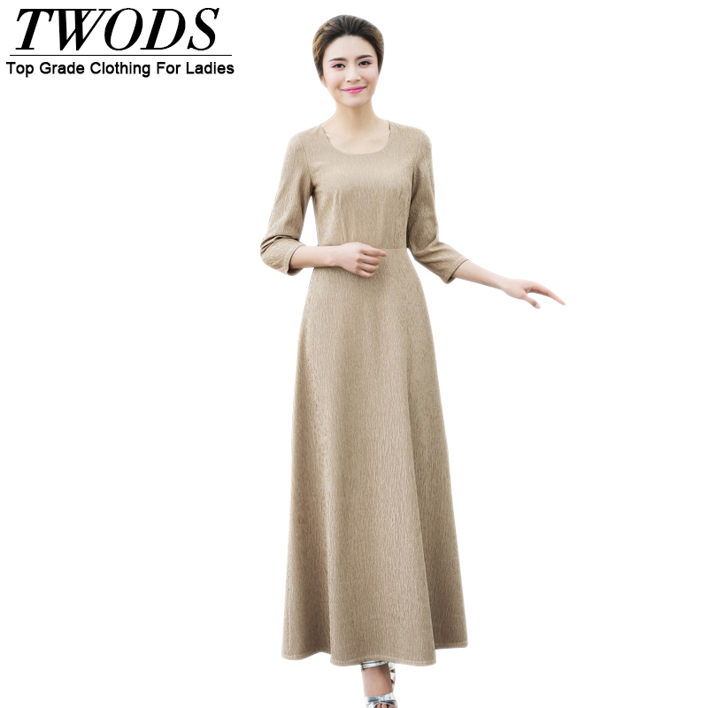 Twods 2016 New Slim Cut Crepe 3/4 Sleeve Women Dress Plus Size Clothing Muslim Maxi Long Flare Dresses Robe Femme Vestidos