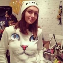 New Winter Coats Women's Cat Sweatshirt 3d Printing Cute Female Long Sleeve Pullover Hoodies Shirt  Streetwear White/Blue(China (Mainland))