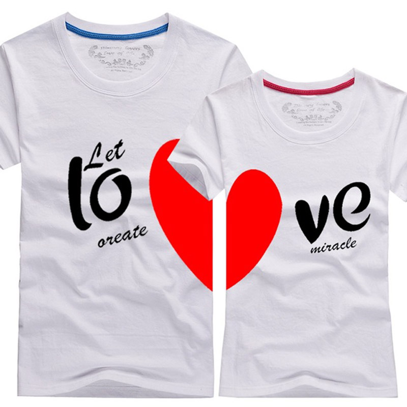 Couples men women heart love t shirts printing100 for Couple printed t shirts india