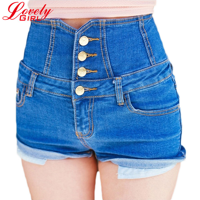 Высокая талия джинсовые шорты для женщин 2016 летний свободного покроя тонкий короткий ...