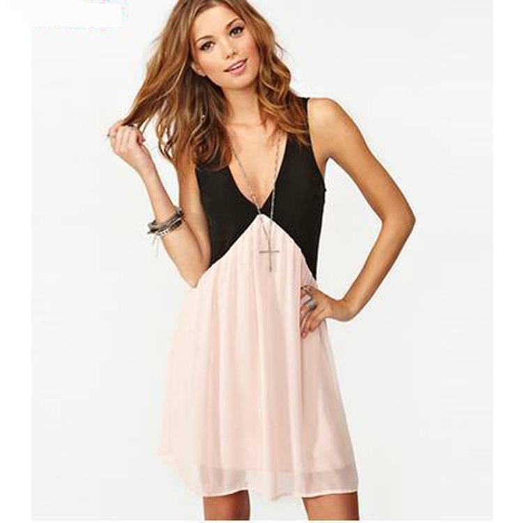 Aliexpress EBAY explosions Europe, 2015 summer dress stitching back cut deep v-neck sleeveless chiffon - Sunlight shopping mall store