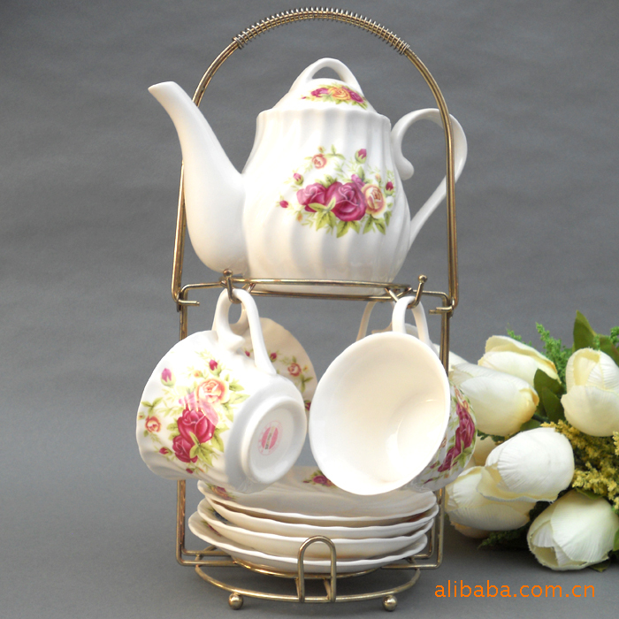 Supply Jingdezhen Ceramic Coffee Set 9 C bone china coffee cup and saucer Pot red and