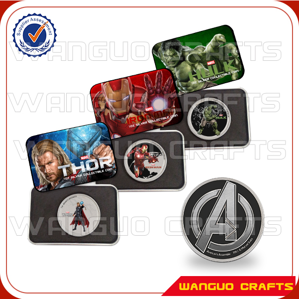 Boxes Super Heroes Children Gift Colorized 2015 Thor Hulk Iron man 1 Oz Plated Silver Coin Marvel Avengers Coins Set - international Wanguo Crafts store