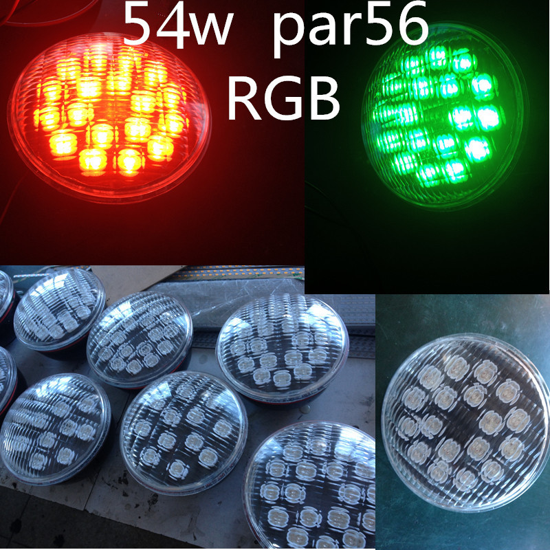 wholesale RGB Par56 led swimming pool bulb lamp light 54w whit remote control 18*3w(China (Mainland))