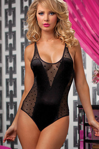 Dear Love Scoopneck sexy ladies lace Polka Dot Teddy lingerie LC3142 catsuit jumpsuit sexy body womens bodysuit underwear exotic(China (Mainland))