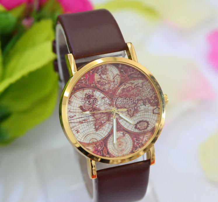 Wholesale 700pcs/lot Mix 4Colors Quartz  watch Fashion Leather Map watch JW020<br><br>Aliexpress