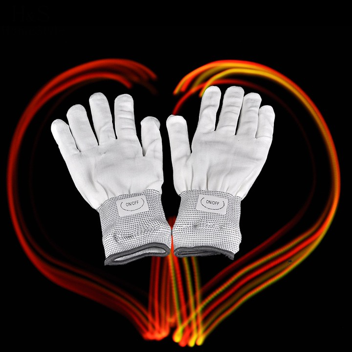 2016 New Flashing Gloves Glow 7 Mode LED Rave Light Finger Lighting Mitt Toy finger led gloves Magic white/black(China (Mainland))