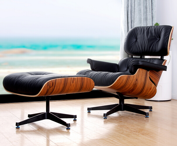 MAV Furniture, Modern Designer Lounge Chair And Footstool With Black Leather  Upholstery, Free Shipping ...