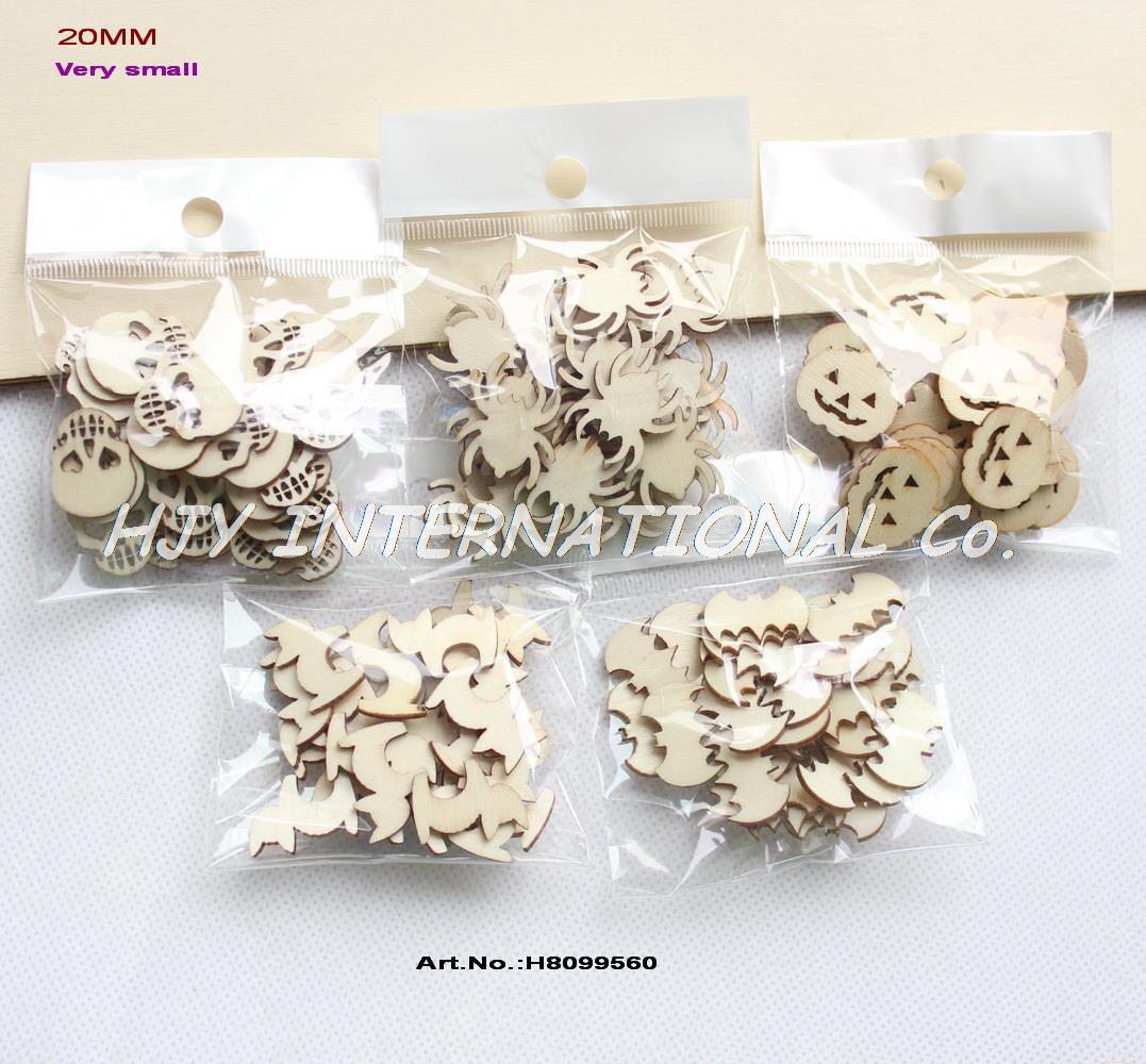"(5 Styles,150pcs/set) 20mm Blank Wood Halloween Party Owl Skull Bat Pumpkin Cat Spider 0.08""-H8099560(China (Mainland))"