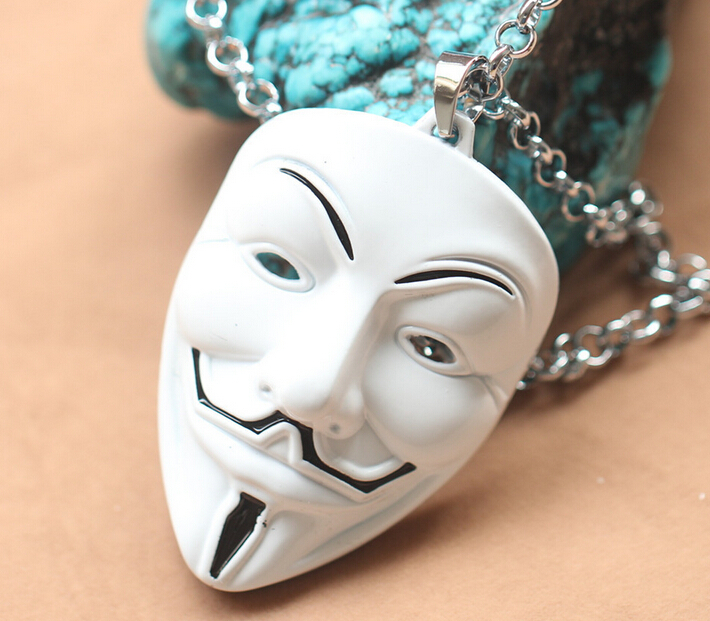 Fashion Moive Jewelry Film V for Vendetta ANONYMOUS GUY Mask Metal Pendant Necklace 10pcs/lot(China (Mainland))