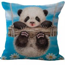Hand Painted Animal Panda Cotton Linen Kids Throw Pillow