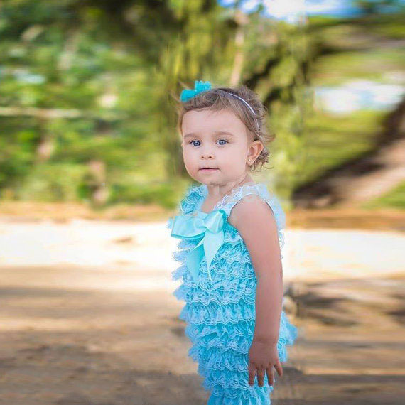 Baby Girl Summer Boutique Rompers Sky Blue Kids Lace Ruffle Romper Toddler Girl Romper Retail And Free Shipping(China (Mainland))