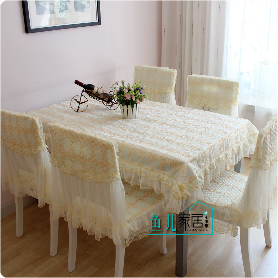 Rustic cotton fabric table cloth computer dining table cloth lace chair cover cushion dining chair set chair pad(China (Mainland))