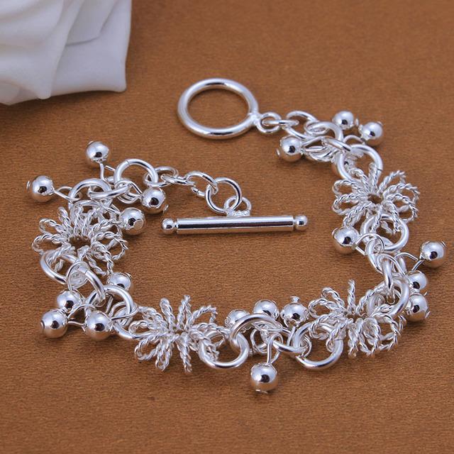 Серебряный позолоченный браслет дешевые полые круг бусы linked браслет подарок для ...