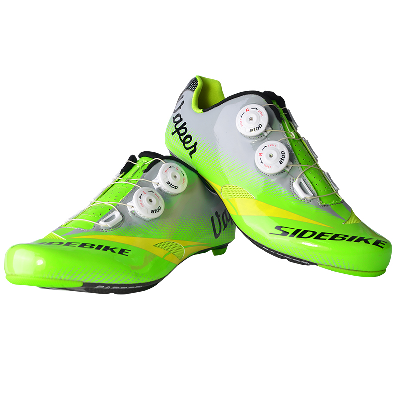 New men carbon fiber road bicycle <font><b>cycling</b></font> <font><b>shoes</b></font> breathable bike self-locking <font><b>shoes</b></font> ultralight Zapatillas Zapato Ciclismo Green